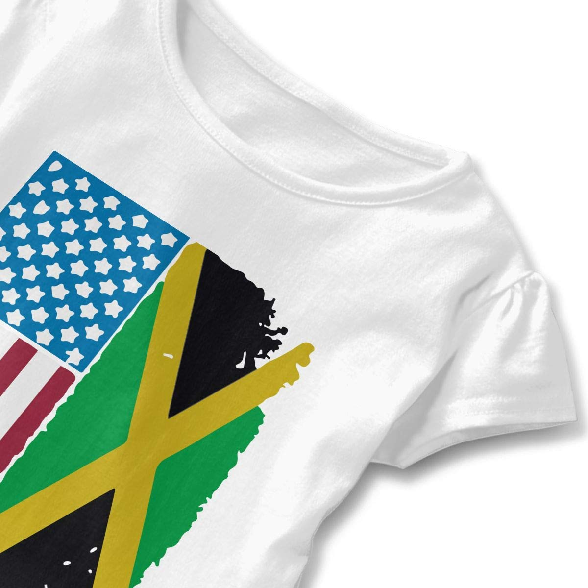 HelloWorlduk Toddler Baby Girl Flag of Jamaica Funny Short Sleeve Cotton T Shirts Basic Tops Tee Clothes