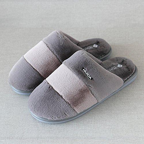 lame bois hommes 28 accueil épais pieds épais coton gris indoor et en à rayures 4142 de chaud femmes les pour d'hiver Chaussons en chaussures plancher qZPwpFn