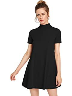 9cc8688bbb7 Milumia Women s Solid Swing Mock Neck Short Sleeve T Shirt Dress Jersey  Dress