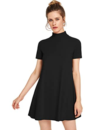 9d583d56cf763 Milumia Women's Solid Swing Mock Neck Short Sleeve T Shirt Dress Jersey  Dress Black X-