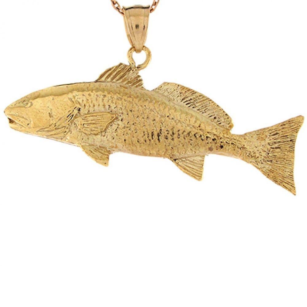 14k Real Yellow Gold 4.07cm Trout Salmon Fish Design Charm Pendant