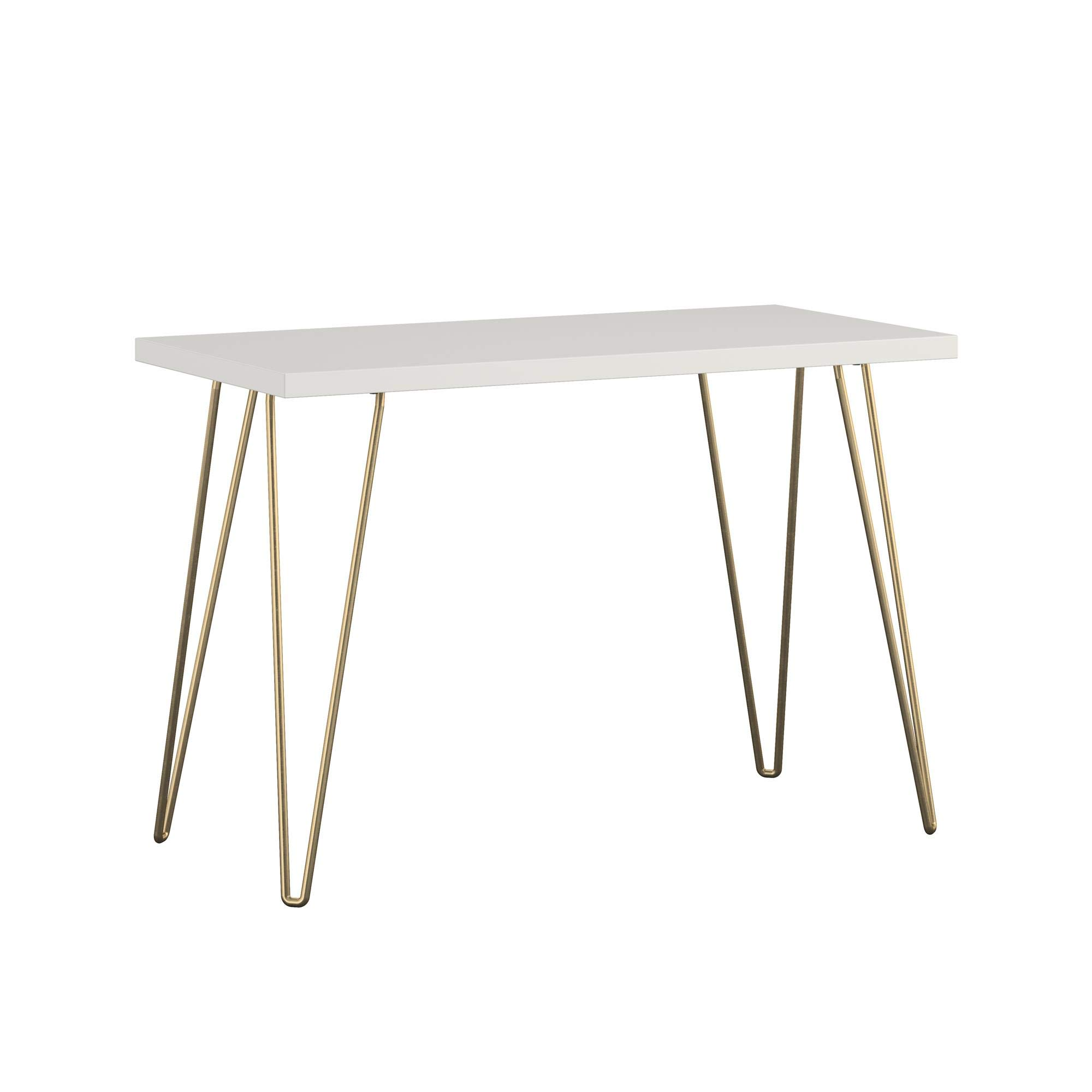 AmazonBasics Retro Hairpin Compact Computer Desk - Solid White with Matte Gold Legs