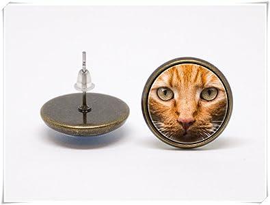 Pendientes de gato rojo gatos joyería mascotas mascotas regalo amante de la mascota: Amazon.es: Joyería