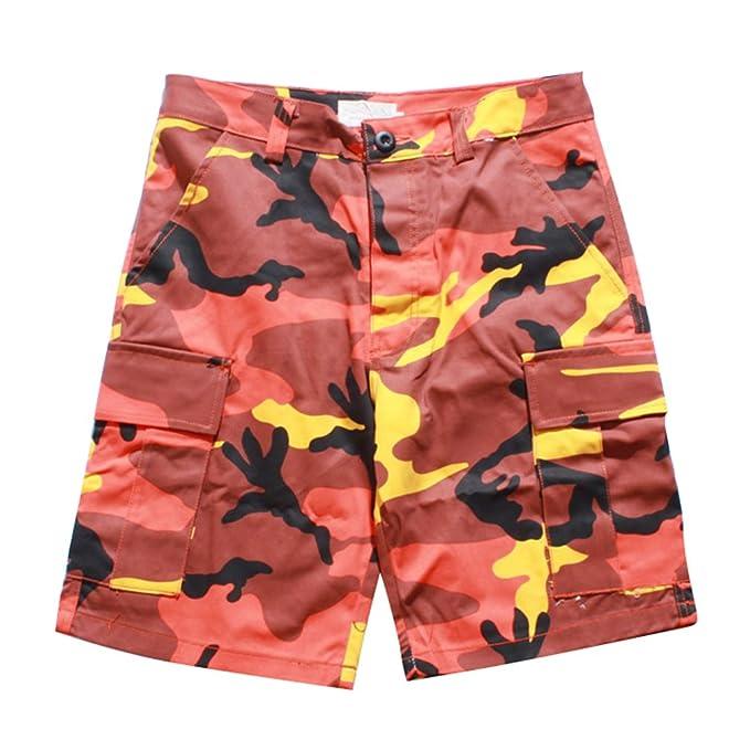Jitong Cargo Pantalones Cortos de Camuflaje para Hombre Regular Fit Straight Shorts de Playa con Bolsillo 9W91p98