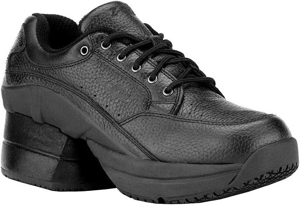 Z-CoiL Pain Relief Footwear Women s Legend Slip Resistant Enclosed Coil Black Leather Tennis Shoe