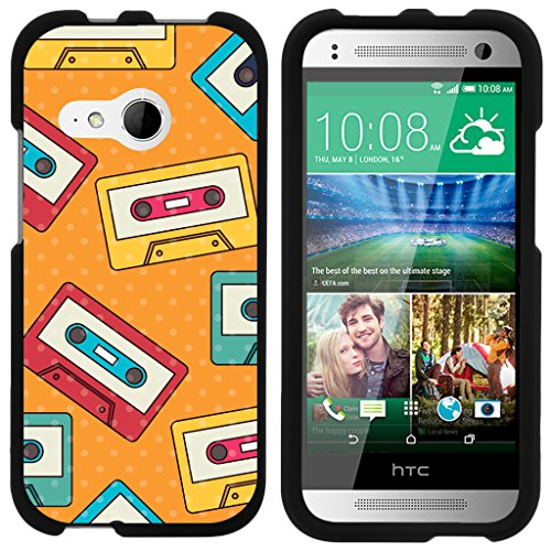 (TurtleArmor | Compatible for HTC One M8 Mini Case | One Mini 2 | One Remix [Slim Duo] Slim Fitted Compact Hard Protector Snap On Case on Black Music Design - Cassette Tapes)