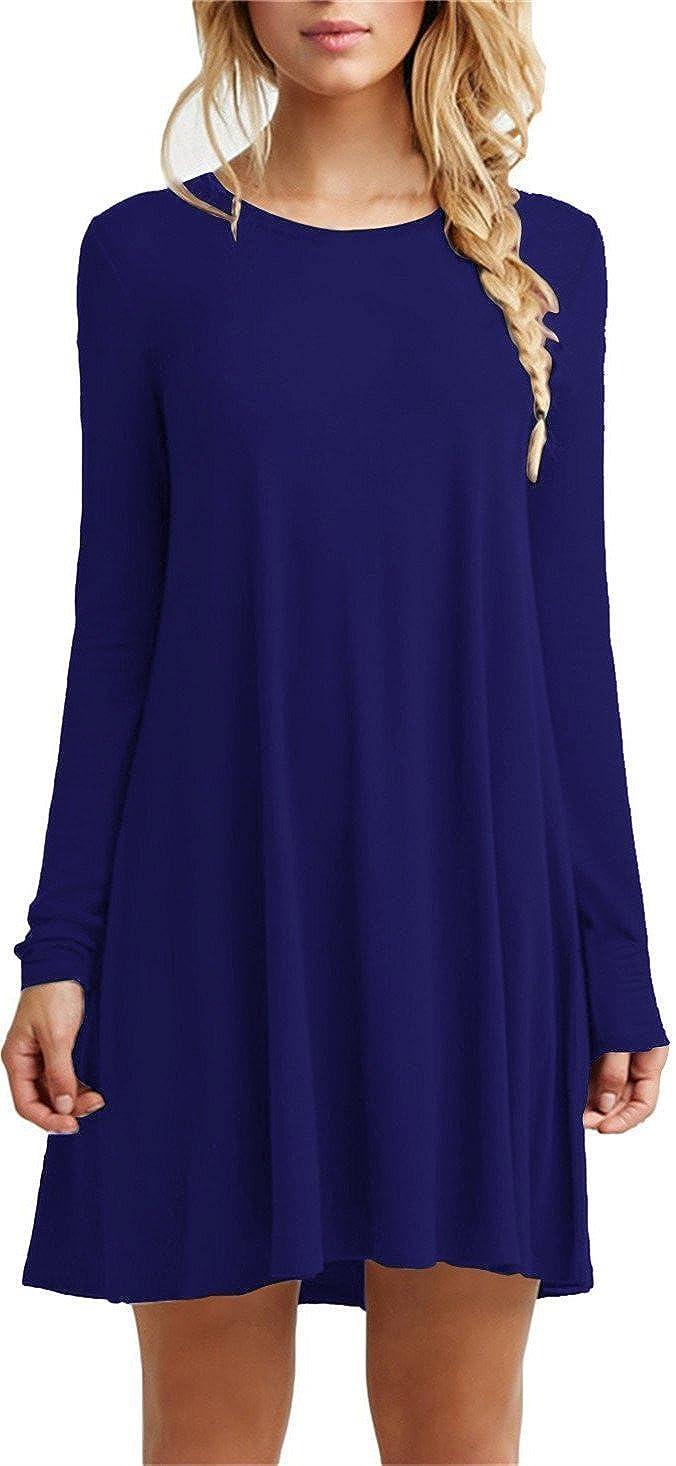 21royal blueelongsleeve TOPONSKY Women's Casual Plain Simple TShirt Loose Dress