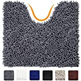 VDOMUS Contour Bath Rug, Soft Shaggy U-shaped Toilet Floor Mat Bathroom Carpet, 19 X 19 inches - Grey