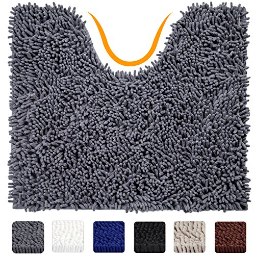 Contour Square Rug (VDOMUS Contour Bath Rug, Soft Shaggy U-shaped Toilet Floor Mat Bathroom Carpet, 19 X 19 inches - Grey)