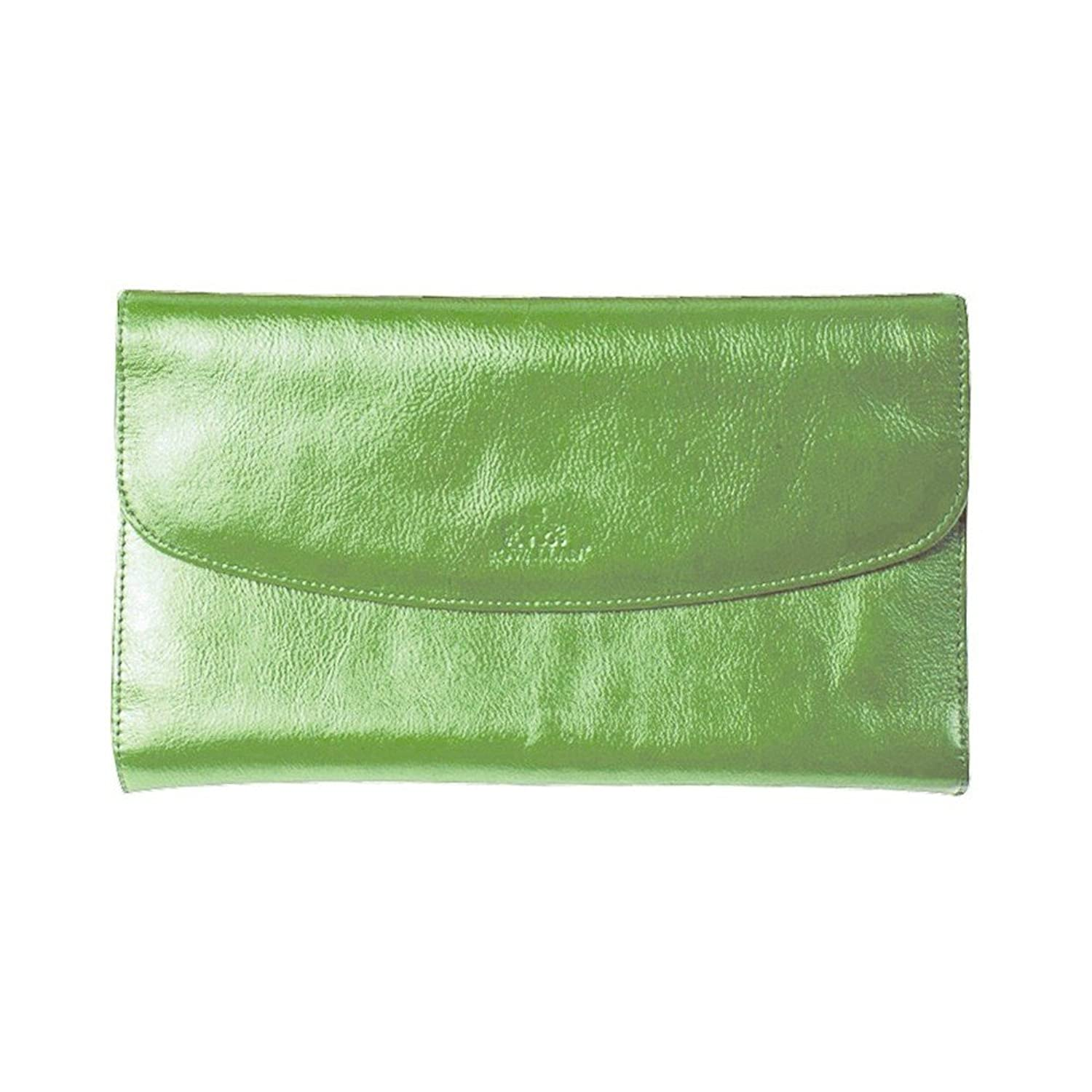 Christal Lime Green Leather Jewelry Clutch