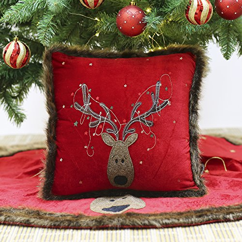 Valery Madelyn 16x16 Inch Red Green and Gold Country Velvet Reindeer Christmas Pillow Cover with Faux Fur Trim Border,Themed with Tree Skirt(Not Included)