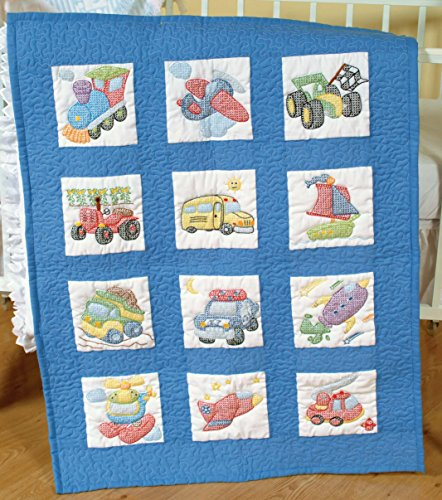 Jack Dempsey Needle Art 30079 Nursery Quilt Transportation Blocks, 12 Quilt Blocks, 9-Inch-by-9-Inch, White Hoop Quilt Block