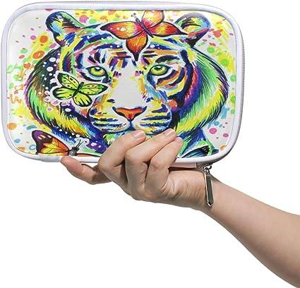 Funnyy Animal Tiger Face Butterfly Pen Bag Estuche multifuncional con cremallera Bolsa de viaje Maquillaje Cepillo Cosméticos Bolsas para Niños Estudio Mujer Hombre Trabajo: Amazon.es: Oficina y papelería