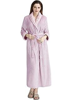 447216b9c5 PUTUO Womens Luxury Bathrobe Soft Fleece Dressing Gown Winter Warm Bath Robe …