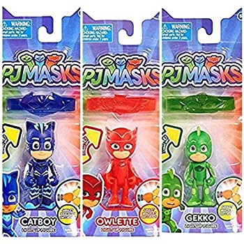 PJ MASKS Light Up figures Gekko, Catboy and Owlette with Amulet Bracelet Bundle of 3