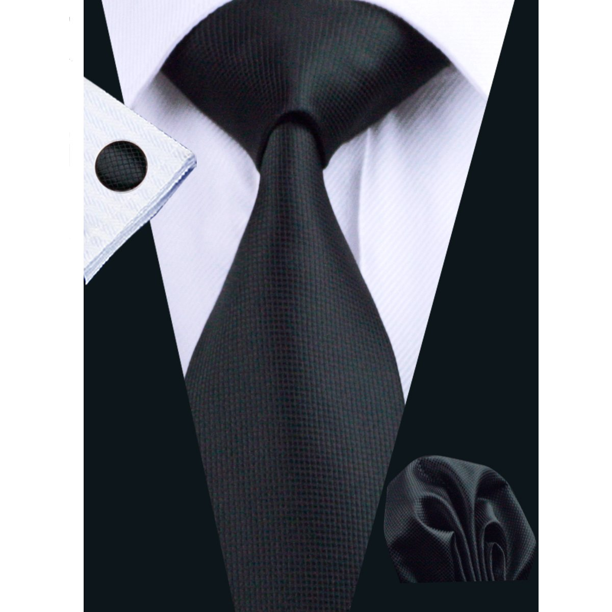 Hi-Tie Classic Necktie Set Solid Color Silk Ties for Men