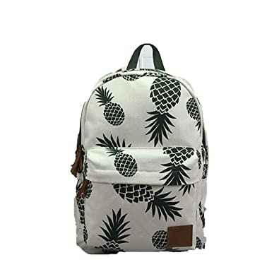 c1a9c7bcc Amazon.com: Women Fruit Printing Backpack Canvas School Bag For Teenage  Girls Green Pineapple Backpacks Large Laptop Travel,Pineapple: Shoes