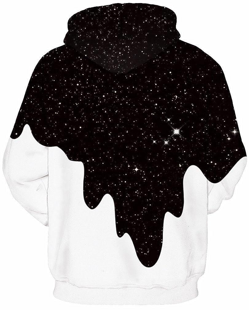 97a73ef92b718 Amazon.com: FLYCHEN Men's Digital Print Sweatshirts Hooded Top Galaxy  Pattern Hoodie: Clothing