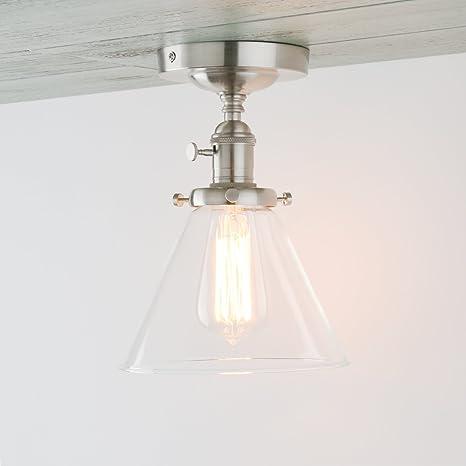 Permo Vintage Industrial Semi Flush Mount Ceiling Light Fixture ...