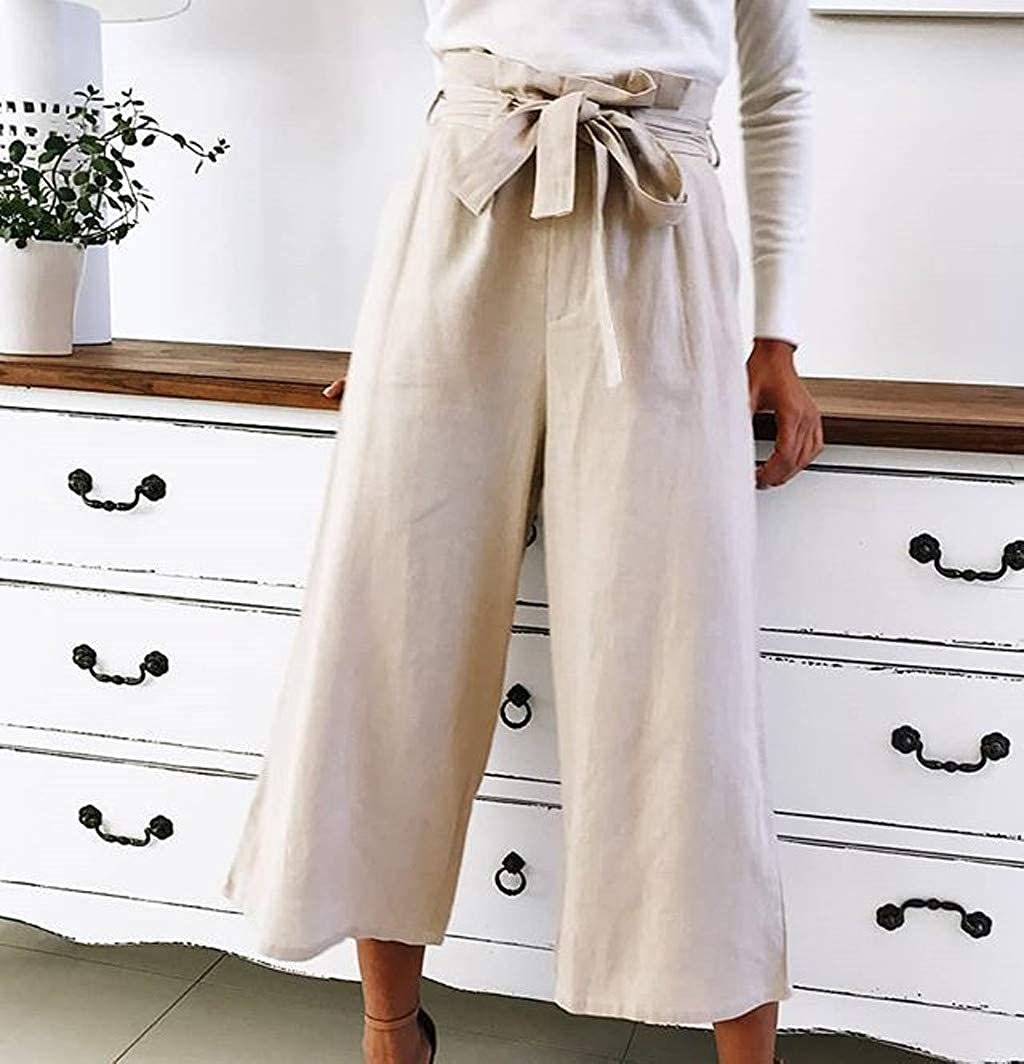 TIFENNY Solid Cropped Trousers Womens Wild Fashion Casual Lace Loose Straight Pants High Waist Bandage Belts Sweatpants