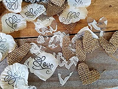 Burlap and Lace Wedding Decorations, Aisle runner petals Flower Girl Basket throw , Burlap wedding Confetti, Burlap Decor, Vintage Burlap table scatter, Love and burlap hearts,