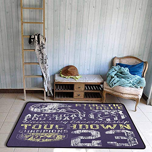 Collection Area Rug,Sports Retro Style American Football College Theme Illustration Athletic Championship Apparel,Large Area mat,4'11