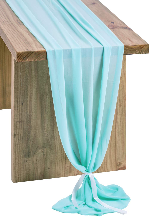 Letjolt Sheer Robin Egg Blue Chiffon Table Runner 120 Inch Silky Gorgeous Chic Table Runner Romantic Wedding Table Decoration Baby Shower Decor Blush Bridal