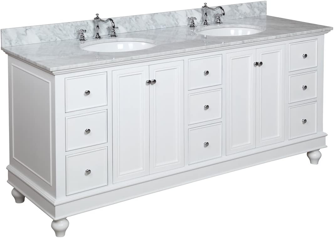 Bella 72-inch Bathroom Vanity Carrara White Includes White Cabinet with Soft Close Drawers, Authentic Italian Carrara Marble Countertop, and Two Ceramic Sinks