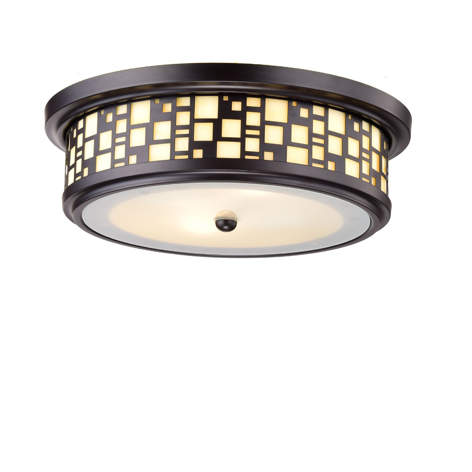 YOBO Lighting 2 Light Resin Flush-Mount Ceiling Lights, Oil Rubbed Bronze Finish on Steel with Frosted Glass