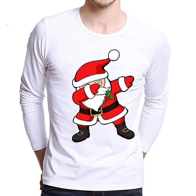 Camisa Casual Manga Larga para Hombre De Moda Mas El TamañO De ImpresióN Camisetas De Navidad