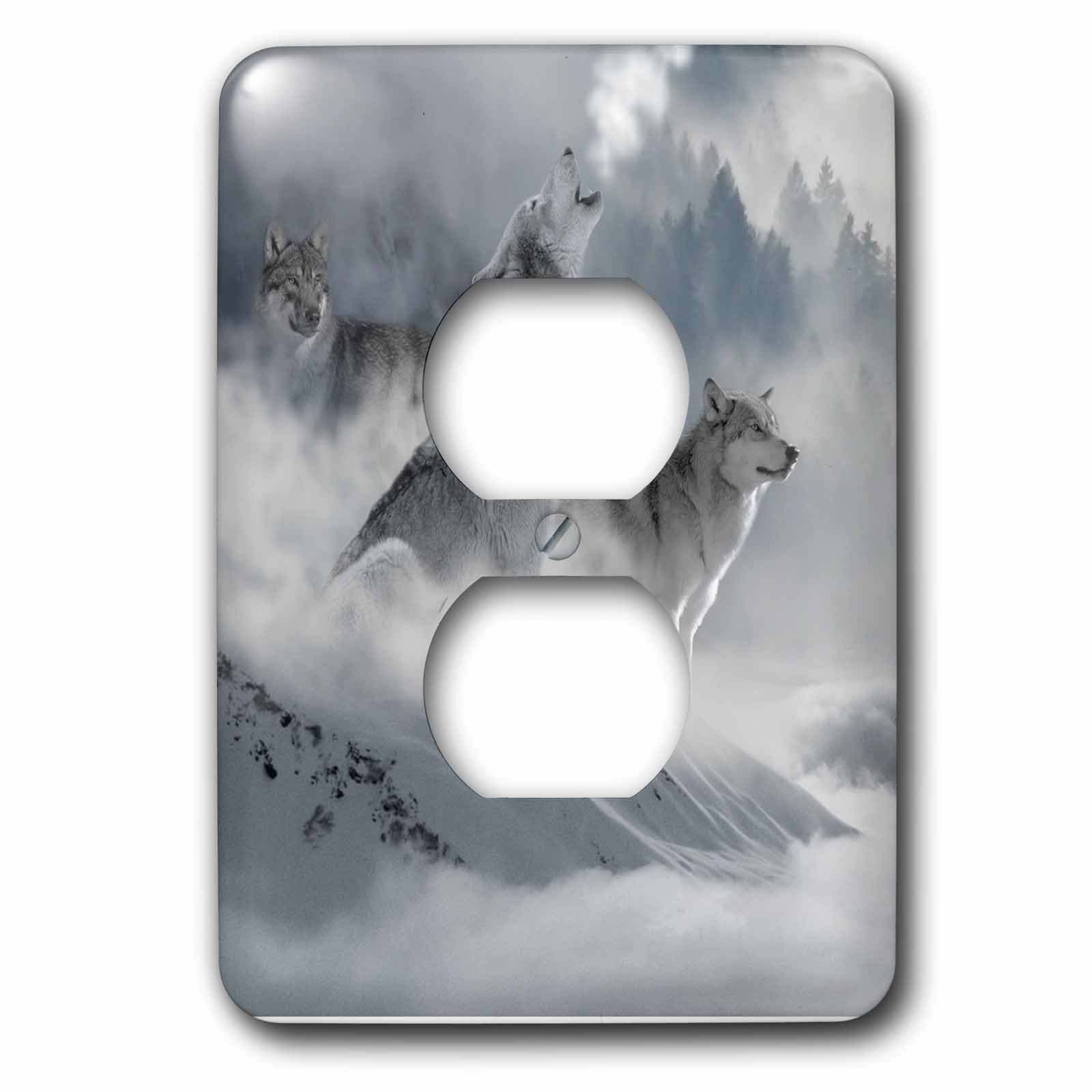 3D Rose LSP_252104_6 Fantasy Wolf Wolves Animal with Clouds 2 Plug Outlet Cover