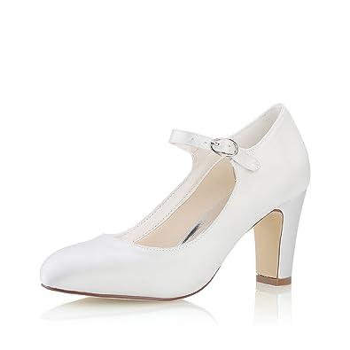 Mrs White Damen Brautschuhe 3421-5 Geschlossene Zehen Chunky Heel Satin Pumps Hochzeitsschuhe