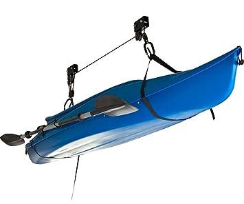 Kayak Garage Storage Rack Canoe Hoist Overhead Lift Garage Ceiling Rope  Rack System