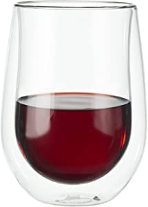 ZWILLING J.A. Henckels 39500-213 Double-Wall Red Wine Glass Set, 12 fl. oz