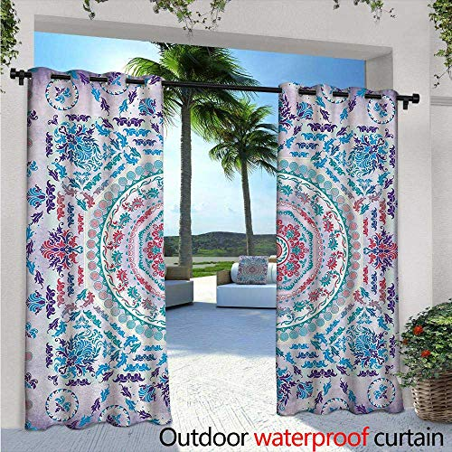 BlountDecor Mandala Indoor/Outdoor Single Panel Print Window Curtain W96 x L84 Medallion Design Floral Patterns and Leaves Boho Hippie Style Prints Silver Grommet Top Drape Turquoise Pink and ()