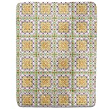 Oriental Tile Fitted Sheet: King Luxury Microfiber, Soft, Breathable
