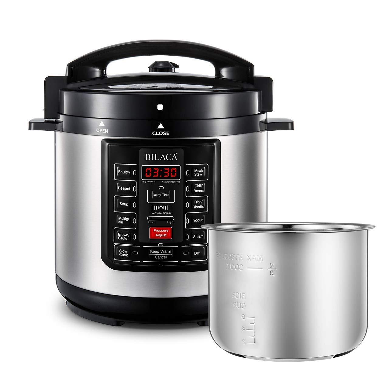 Electric Pressure Cooker,BILACA 6 Qt 9-in-1 Multi Programmable Pressure Cooker,Slow Cooker,Rice Cooker,Steamer,Yogurt Maker,Saut and Warmer With Stainless Steel Inner Pot by BILACA
