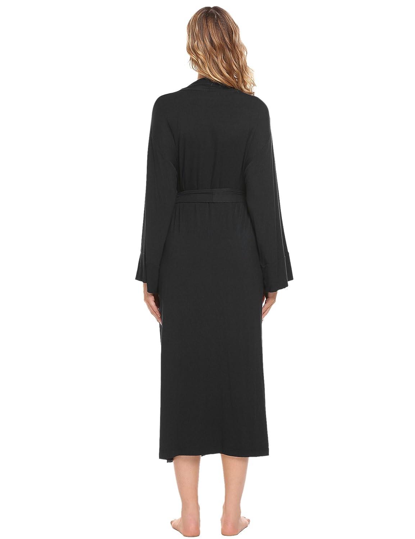 Ekouaer Women s Long Soft Kimono Robes Knit Bathrobe Comfort Sleepwear  Loungewear at Amazon Women s Clothing store  6c35d6d0f