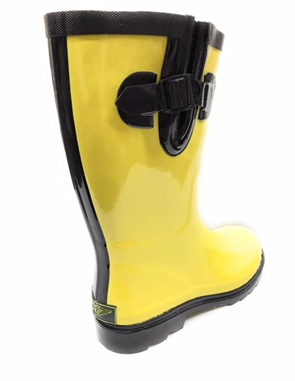 488e172bc Women Rain Footwear Forever Young Women Mid-Calf Black/Yellow Rubber RAIN  Boot,11 RB-6045