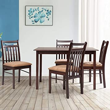 Evok Lewis 4 Seater Dining Table Set Walnut Amazon In Home Kitchen