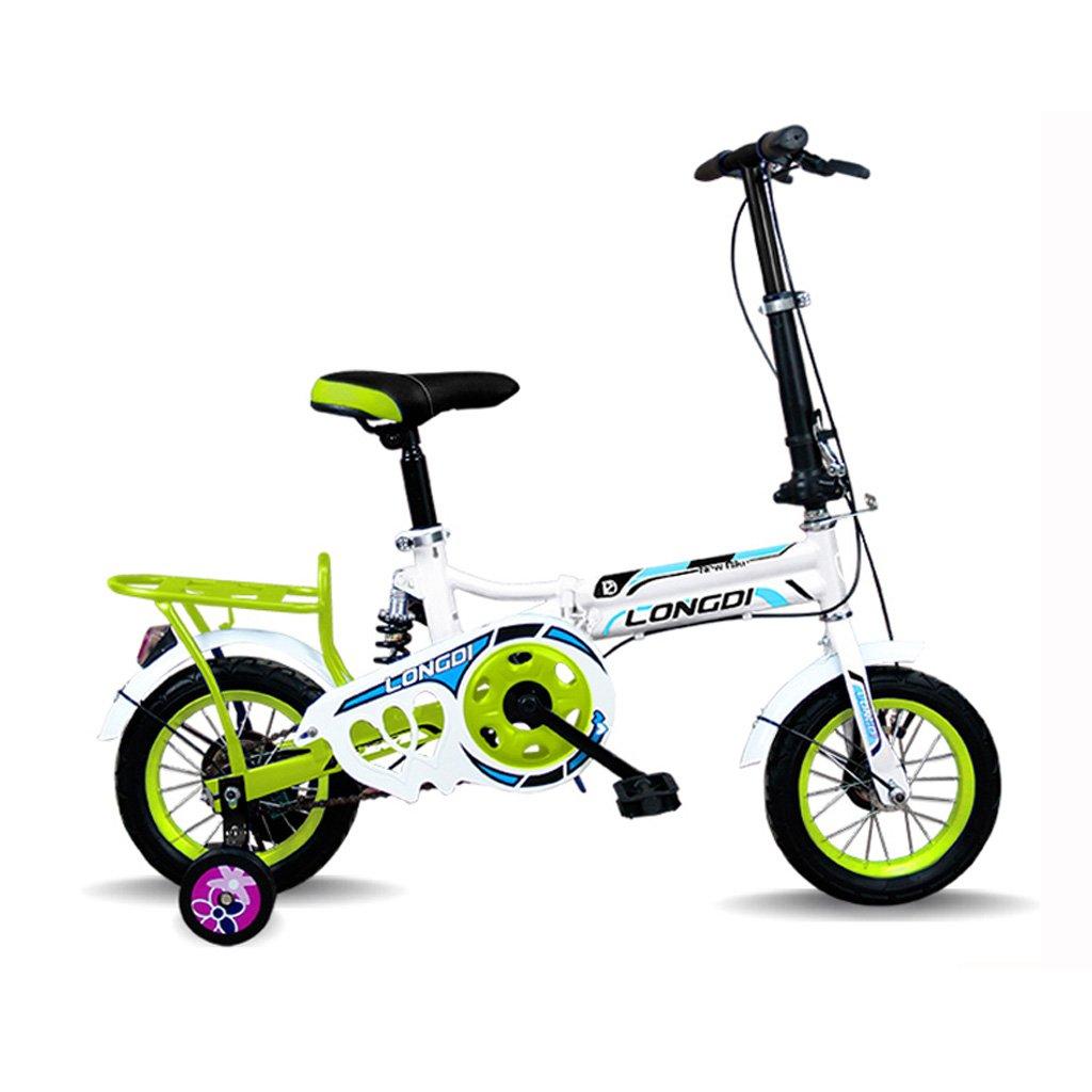 Children 's Folding Bike 12-inch高炭素スチール自転車2 – 4 Years Old子供の自転車、ブラックとホワイトレッド/white-blue/ピンクホワイト/ホワイトグリーン B07CZBPZJY  ホワイトとグリーン