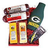 Green Bay Packer Fan Fishing Gift Basket - Smoked Summer Sausages, 100% Wisconsin Cheeses and Packer Novelties WISCONSIN's BEST and WISCONSIN CHEESE COMPANY