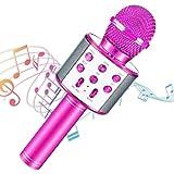 Micrófono Karaoke Bluetooth, Portátil Inalámbrica Micrófono con Altavoz y LED, Karaoke Inalámbrico Bluetooth para niños, niña