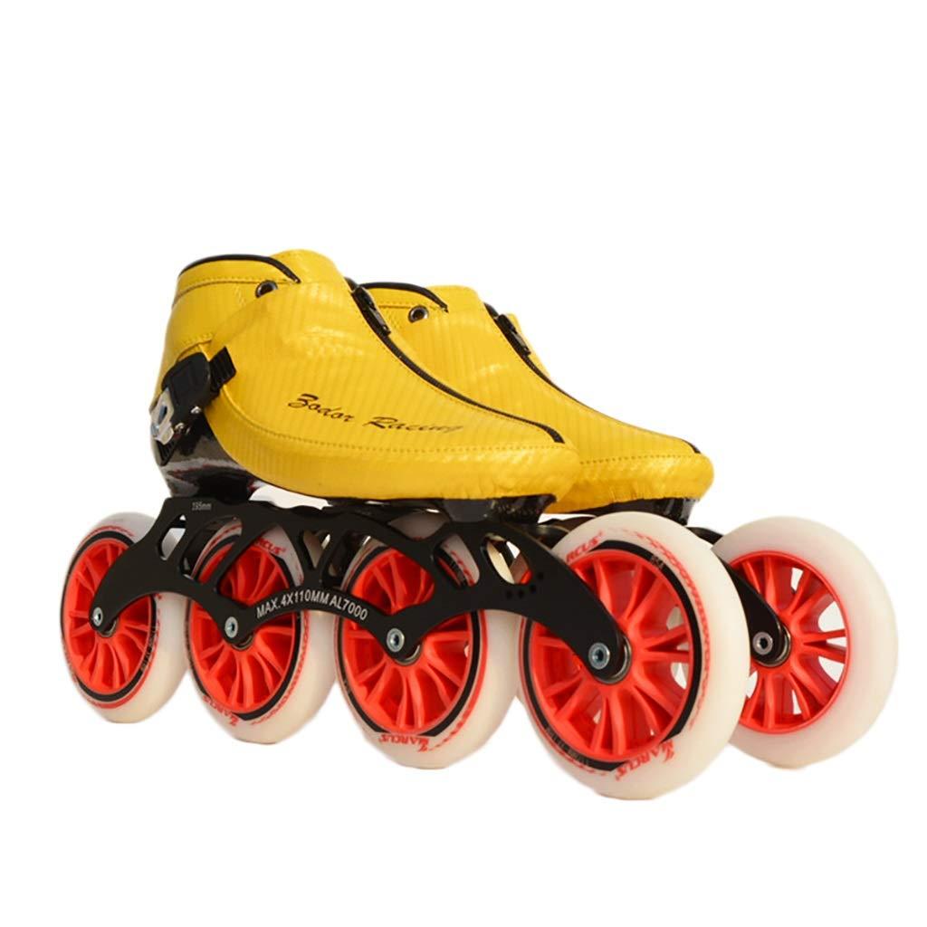 NUBAOgy インラインスケート、90-110ミリメートル直径の高弾性PU車輪、子供のための調整可能なインラインスケート (色 : 黒, サイズ さいず : 36) B07HQ92XSC 42|イエロー いえろ゜ イエロー いえろ゜ 42