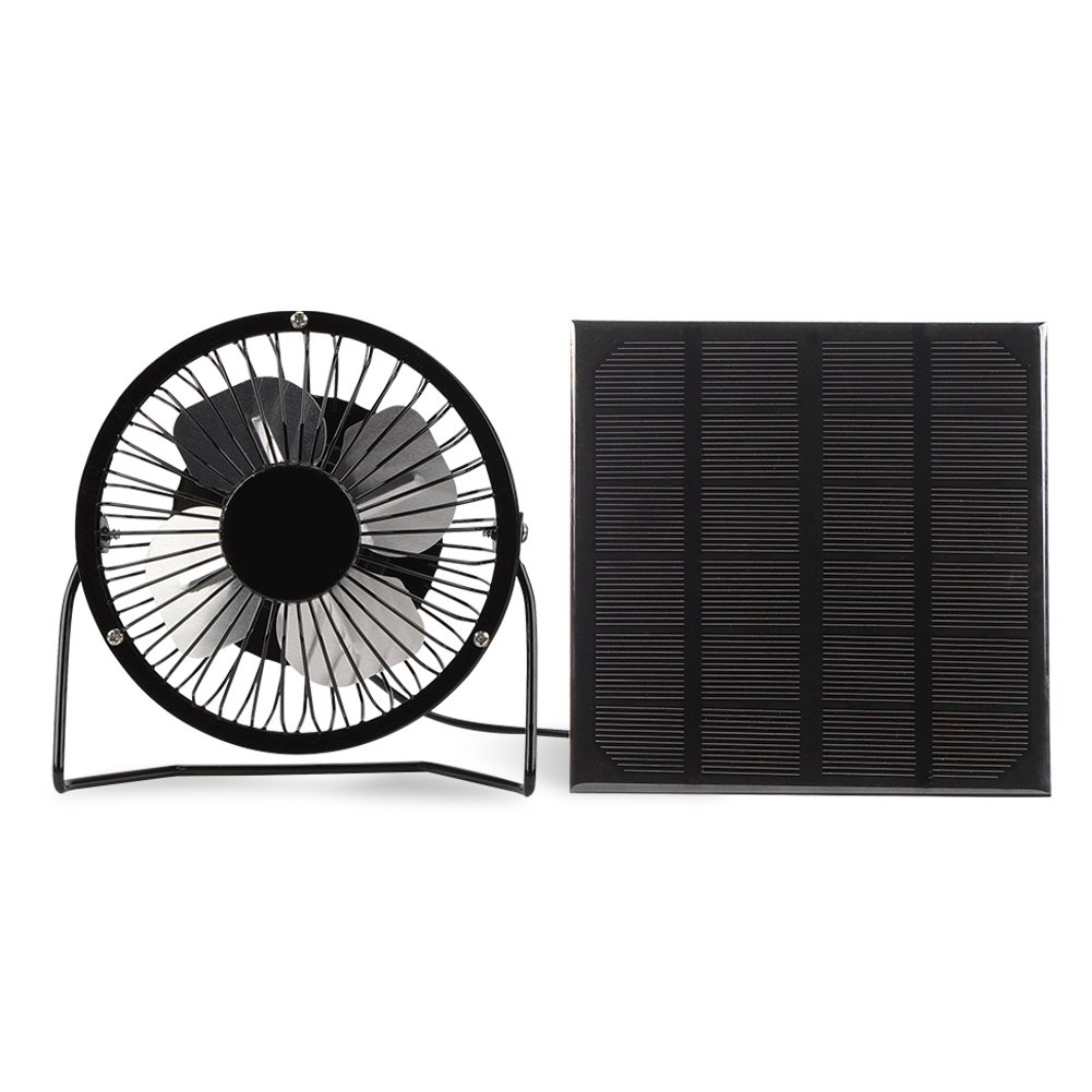 Yosooo 3W USB Solar Panel Powered Mini Portable Fan for Cooling Ventilation Outdoor Home Travelling Chicken HouseCar Ventilation System 4 Inch