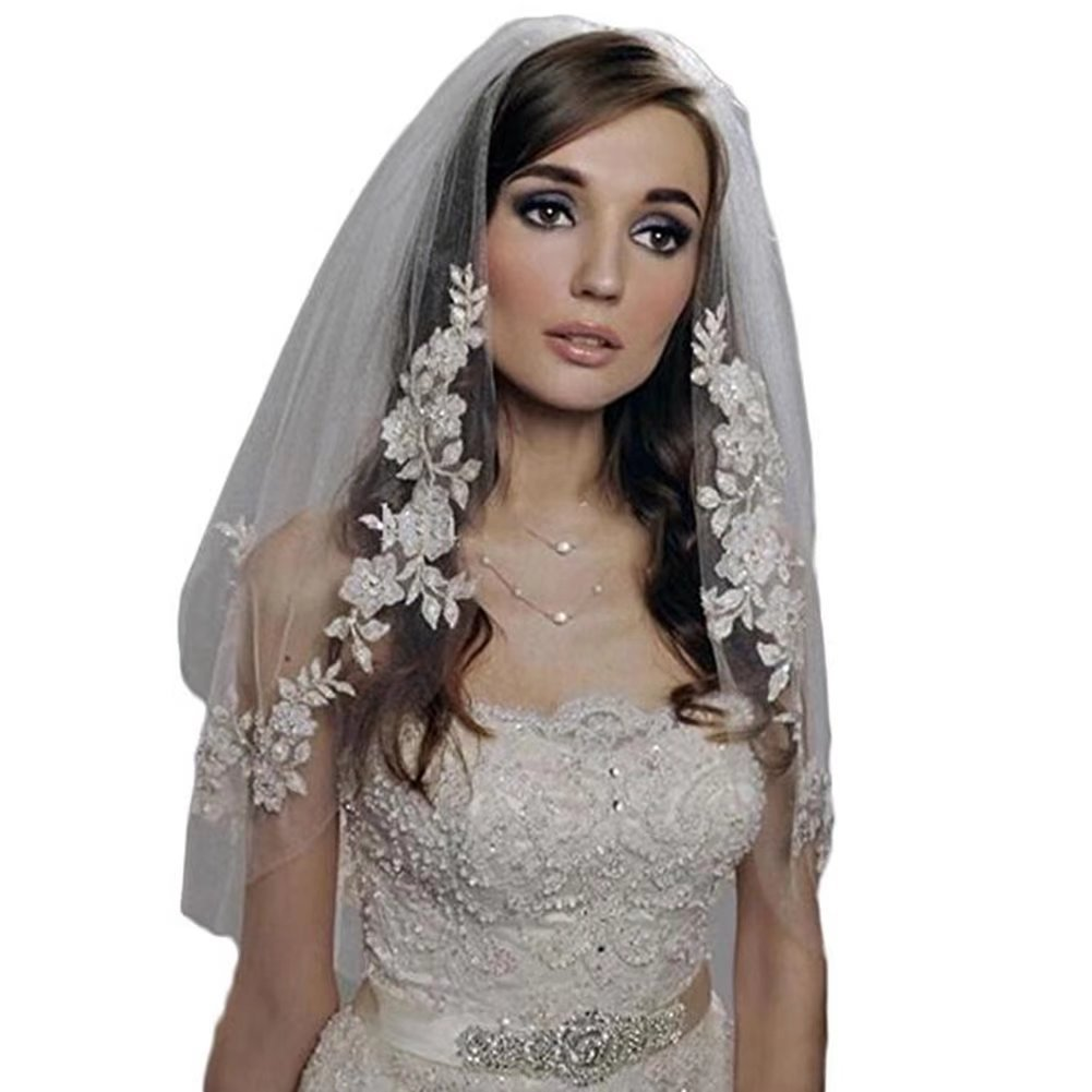 Sunny zeyu 2 Tier Applique Lace Edge Short Tulle Wedding Bridal Veil V1 White