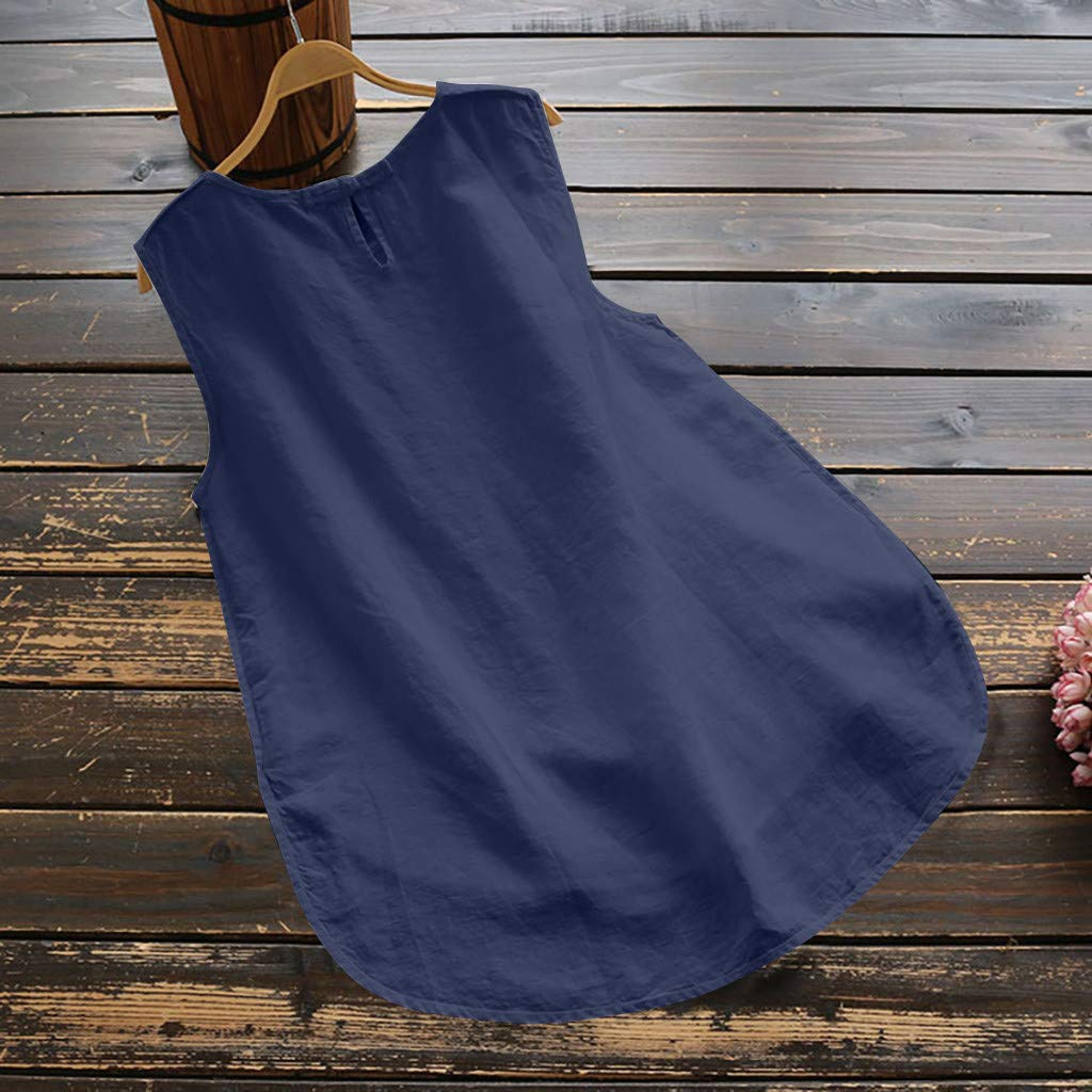 HTDBKDBK Tank Top for Women Casual Plus Size Linen Tops Tee Vintage Solid Sleeveless Loose Vest Blouse