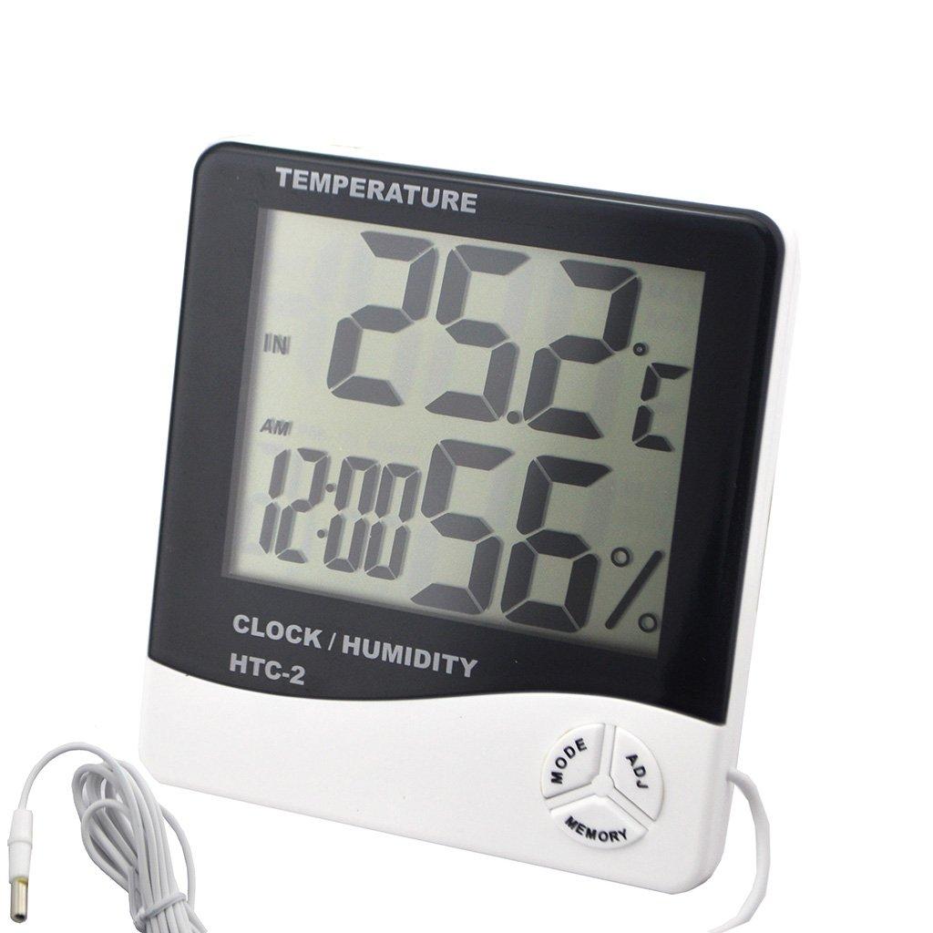 iKKEGOL Digital LCD Indoor Outdoor Thermometer Hygrometer Clock Calenda Dual C/F Humidity Temperature Sensor 1.5m Sensing Line HTC-2 EB30048-Y