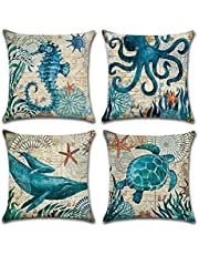 "FLORICA Set of 4 Cushion Cover Throw Pillow Covers Throw Pillow Case Pillowcases 18"" x 18"" 45cm x 45cm Cushion Covers"