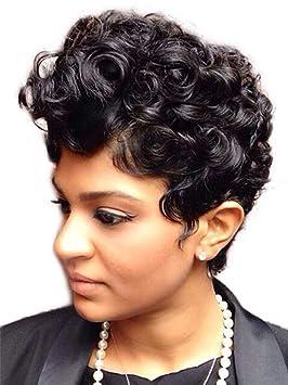 AEWIG Afro Corto Mullido Rizado Cabello Pelucas para Negro Mujer Corto Kinky Mullido Ondulado Negro Peluca